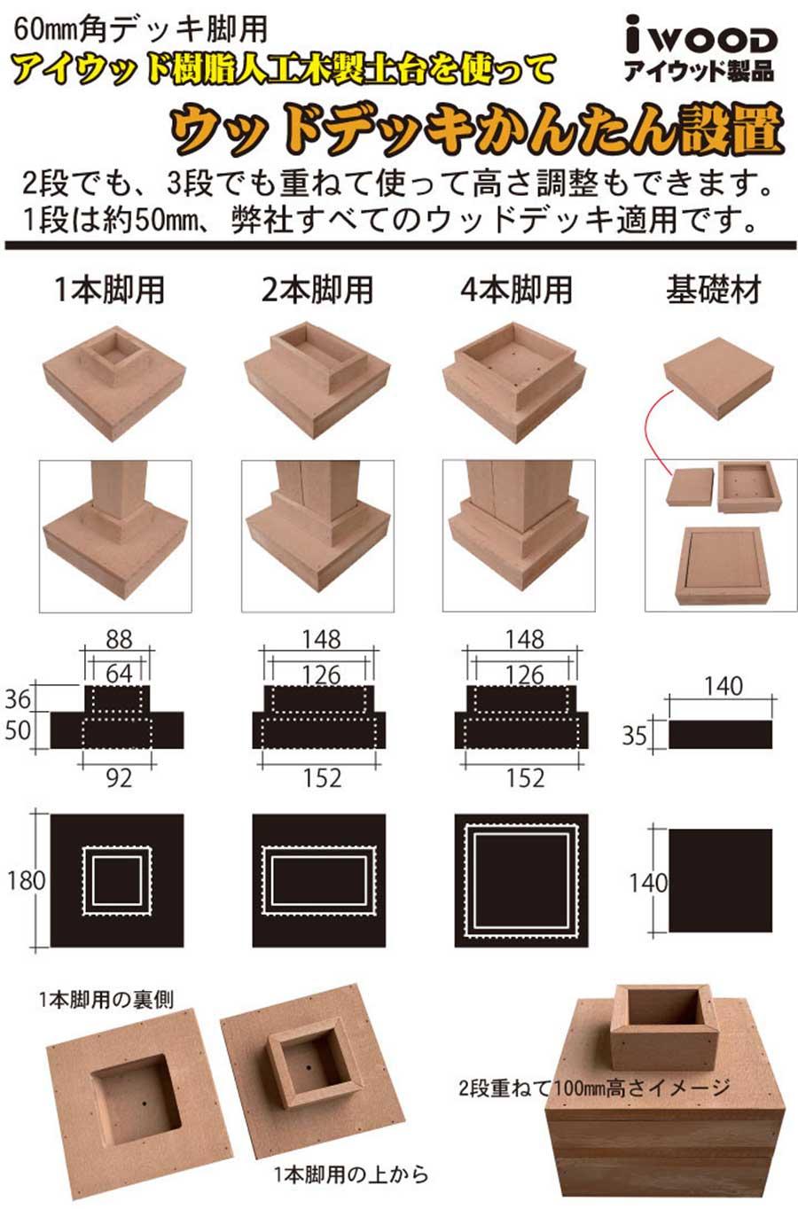 60mm角デッキ脚用アイウッド土台を使ってウッドデッキかんたん設置。2段でも、3段でも重ねて使って高さ調整もできます。1段は約50mm。弊社すべてのウッドデッキに適用です。